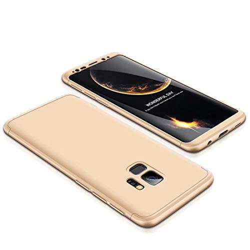 MMPENG Handyhülle Kompatibel mit Samsung Galaxy S9 Plus, 360 Grad Schutzhülle PC Gehäuse und Folie Stoßdämpfung Handy Hülle Kratzfeste Full-Cover Case 3 in 1 Schutztasche-Gold (MEHRWEG) Gold Gehäuse Cover
