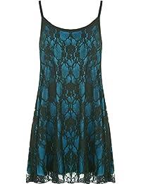 WearAll - Damen Übergröße Lace Chiffon Sheer Gefüttert Strappy ärmellos Vest Schaukel - 12 Farben - Größe 40-58