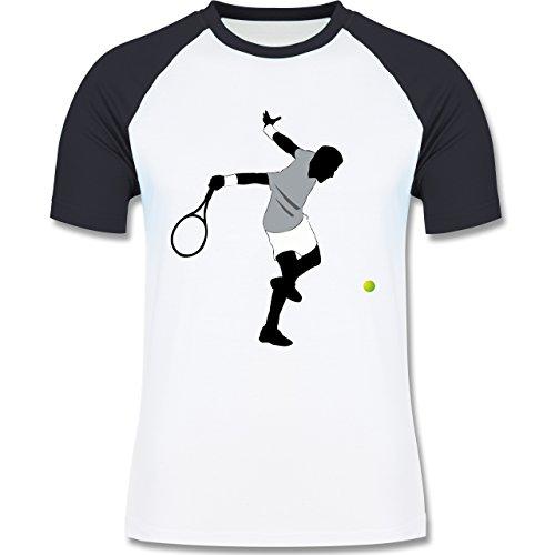 Tennis - Tennis Squash Spieler - zweifarbiges Baseballshirt für Männer Weiß/Navy Blau