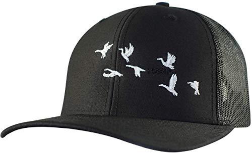 Horn Gear Trucker Mütze - Hunters Series Caps - Duck Flock Edition Hüte - High Air Flow Cooling Mesh Design, schwarz/schwarz, One Size Fits All -