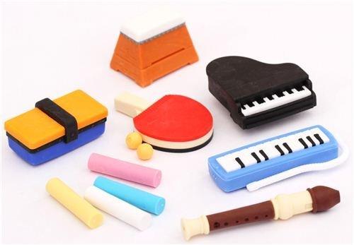 Iwako Radiergummi Schulsachen Set 12 Stück Sport Musik