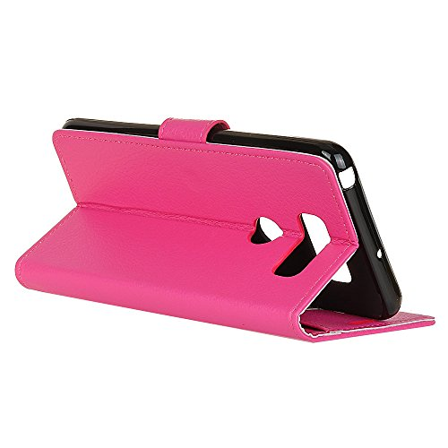 Klassische Litschi Texture PU Leder Schutzhülle Horizontale Folio Flip Stand Case Cover mit Kartensteckplätzen für LG V30 ( Color : Brown ) Rose