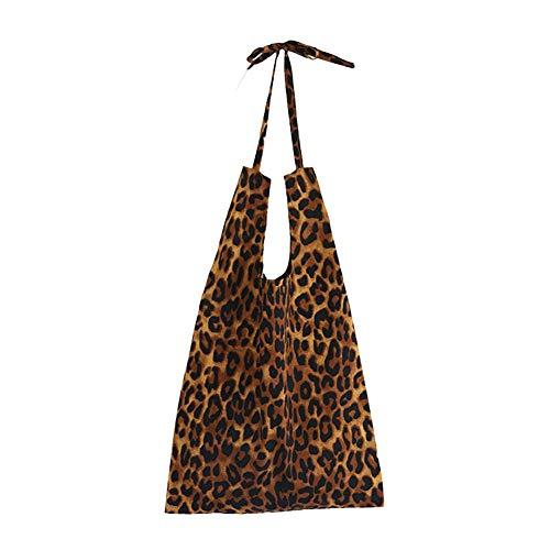 Jannyshop Cotton Leopard Print Canvas Umhängetasche für Damen mit großem Fassungsvermögen