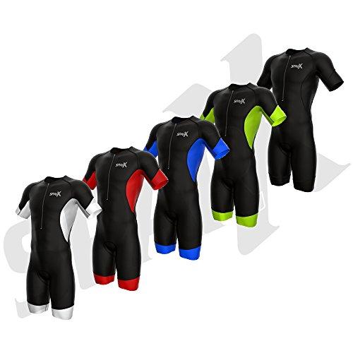 onanzug Elite Ärmeln Kurze Ärmel 2014Speedsuit Skinsuit Swim-Bike-Run, Schwarz/Schwarz, Large ()