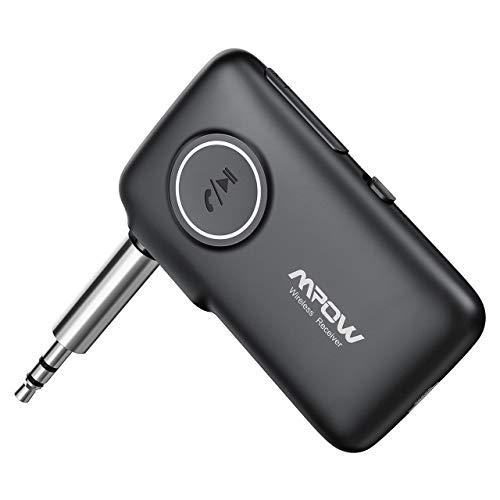 Mpow Nuovo V5.0 Ricevitore Bluetooth con CSR Core, 15 Ore Playtime e 30m Gamma, (Microfono Incorporato) Chiamate in Vivavoce e Navigazione Vocale, LED Light Design per Auto AUX, Cuffie, Altoparlant