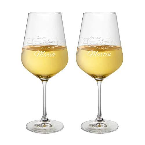 AMAVEL Weißweingläser, 2er Set Weingläser mit Gravur für Mama und Papa, Personalisiert mit Namen, Weinglas als Geschenkidee für Eltern