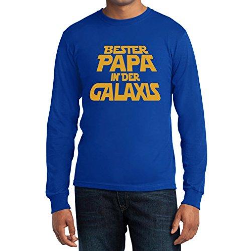 Bester Papa in der Galaxis - Galaktisch gutes Geschenk für Vater Langarm T-Shirt Blau