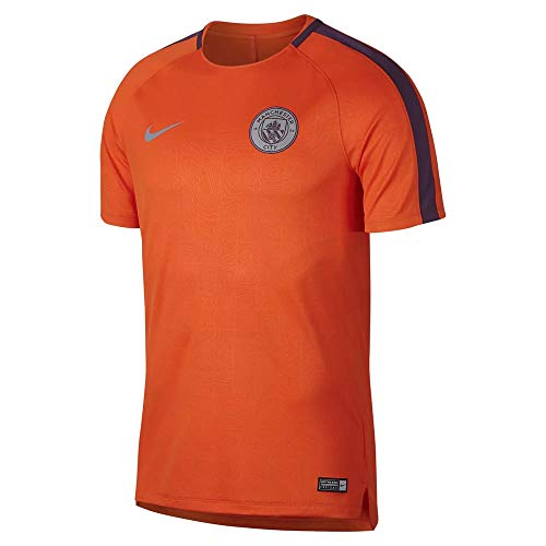 Nike MCFC M NK Dry SQD Top SS GX Cl - Camiseta, Hombre, Multicolor(Safety Orange/Night Purple)