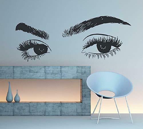 yiyiyaya Wimpern Auge Wandaufkleber Mädchen Auge Augenbrauen Wanddekor Beauty Salon Dekor105 * 42cm (Unten Halloween-wimpern Oben Und)