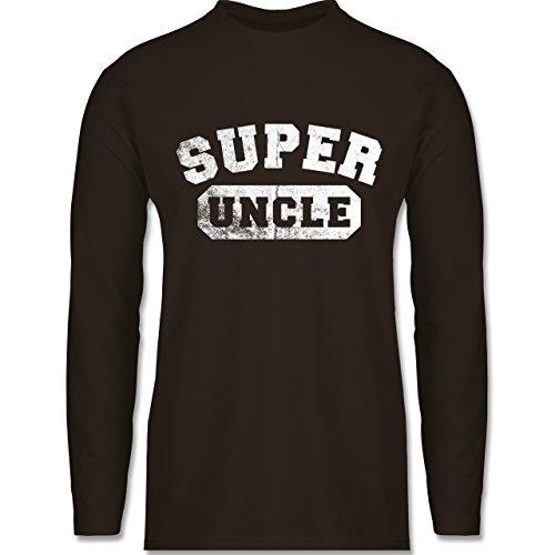Shirtracer Bruder & Onkel - Super Uncle - Vintage-&Collegestil - Herren Langarmshirt Braun