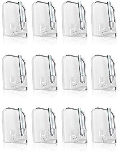 Com-four® 12 ganci per tende autoadesivi per vitragestangen, colore: trasparente, dimensioni: 2,3 x 1,5 cm