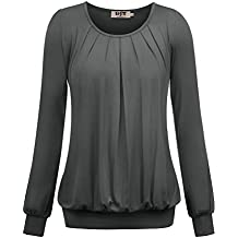 b0b764c55b7cb4 DJT Damen Langarmshirt Rundhals Falten T-Shirt Stretch Tunika Top