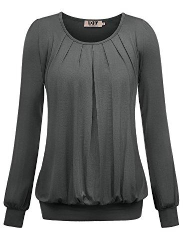 DJT Damen Langarmshirt Rundhals Falten T-Shirt Stretch Tunika Top Dunkelgrau Large