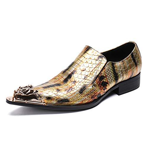 YAN Herrenschuhe Leder Mode Spitz Nieten Schuhe Kleid Schuhe Block Heel Formale Schuhe für Hochzeit & Abend Requisiten (Farbe : EIN, Größe : 40) -