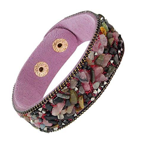 Yazilind Korean Velvet Wrap Armband handgefertigte Steinperlen Armreif Schmuck Geschenke für Sie (# 1)