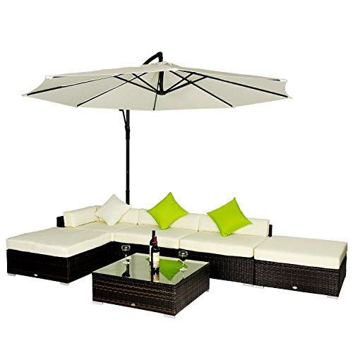 Outsunny Set Mobili da Giardino in Rattan Set Lounge Salotto Telaio in Alluminio 18pz