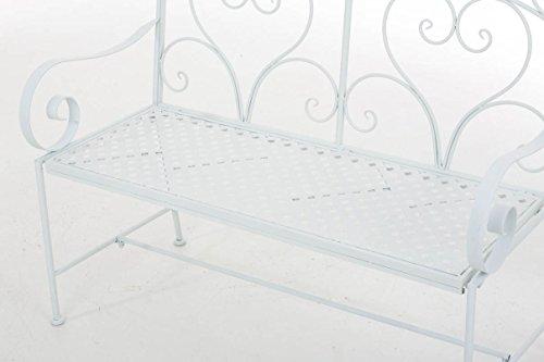 CLP Gartenbank SALIM im Landhausstil, aus lackiertem Eisen, 107 x 50 cm – aus bis zu 6 Farben wählen Weiß - 6