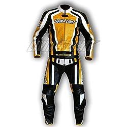 4LIMIT Sports 200100000501 Traje para Moto de Cuero, Amarillo/Negro/Blanco, XXS