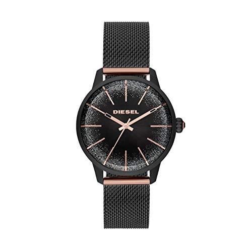 Diesel Damen-Armbanduhr Analog Quarz One Size, schwarz, schwarz, rosé