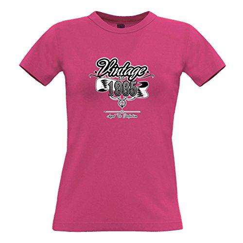 Geburtstag Frauen T-Shirt Vintage EST. 1965 Distressed Neuheit-Entwurf (Distressed Vintage-t-shirt)