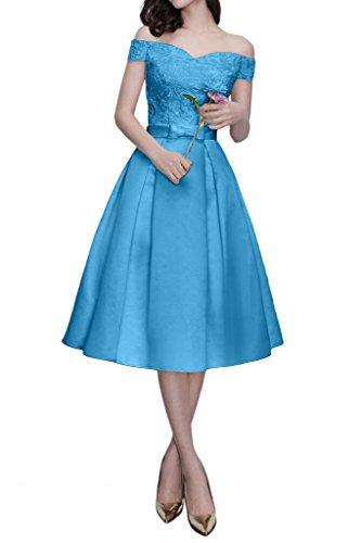 Promgirl House Damen Glamour Prinzessin A-Linie Abendkleider Ballkleider Spitze Cocktailkleider Party Kurz Blau
