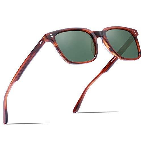 Carfia Gafas de sol para hombre polarizadas Gafas de sol de estilo vintage para conducir Golf de pesca en la playa UV400 (Marco de tortuga + lente verde)