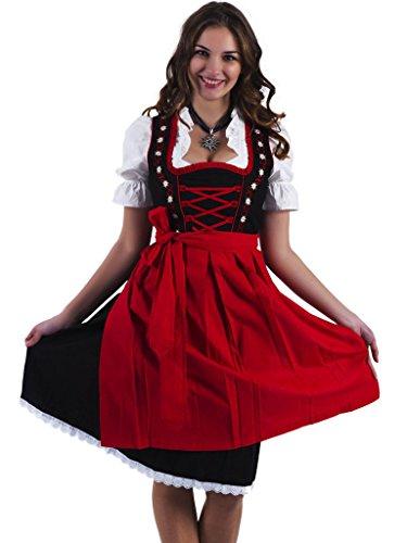 Alpenmärchen, 3tlg. Dirndl-Set - Trachtenkleid, Bluse, Schürze, Gr.48, schwarz-rot, ALM467