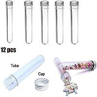 ueetek 12pcs 40ml tubos de ensayo de plástico con tapones de rosca (transparente)