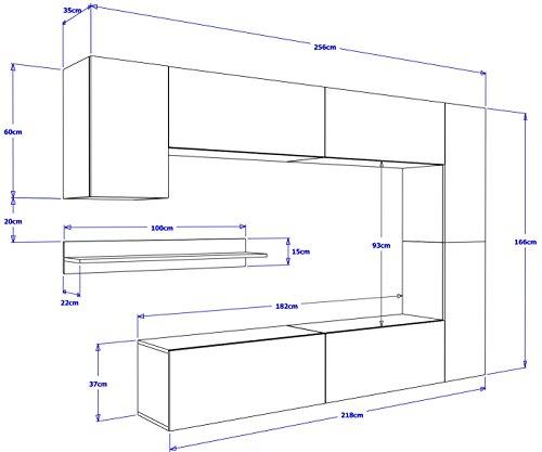 FUTURE 6 Moderne Wohnwand, Exklusive Mediamöbel, TV-Schrank, Neue Garnitur, Große Farbauswahl (RGB LED-Beleuchtung Verfügbar) (Weiß MAT base / Weiß HG front, Blau LED) - 4