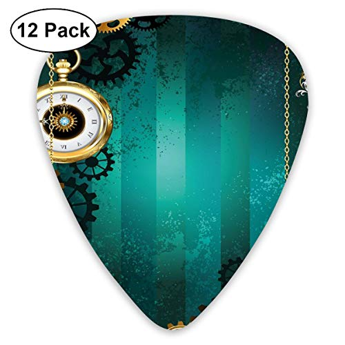 Celluloid Guitar Picks - 12 Pack,Abstract Art Colorful Designs,Antique Items Watches Keys And Chains With Steampunk Influences Illustration,For Bass Electric & Acoustic Guitars. -