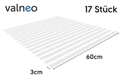 VALNEO Anti Slip Stairs Sticking Strips pack of 17 transparent, self adhesive sticking strips, no more slipping or skidding on steps and staircases /2 year satisfaction guarantee/ 17 PCS clear non slip tape stickers ideal for families, adults and children's safety, anti-slip mat lines stairs increasing grip, anti-slip pad