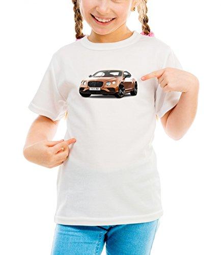 Billion Group | British | British Style Motor Cars | Girls Classic Crew Neck T-Shirt Bianco Large