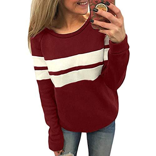 WWricotta Women Casual Color Block Long Sleeve Pullover Tops Loose Tunic Sweatshirt We/S - Casual-blöcke