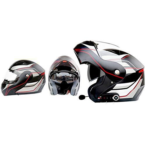 GWJ Casco Moto Smart Bluetooth, Cuffia A Doppia Lente Multiuso, Vivavoce, Multi-Funzione Anti-Nebbia, Dotato di Casco Moto FM, Adatto per Le Corse su Strada, Fuoristrada,BlackRed,L