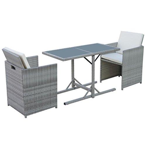 vidaXL Gartenmöbel Set 7-TLG. Poly Rattan Grau Gartengarnitur Sitzgarnituren