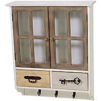 Alacena madera con 2 cajones 2 puertas y 3 percheros, para fijación a pared, de estilo industrial