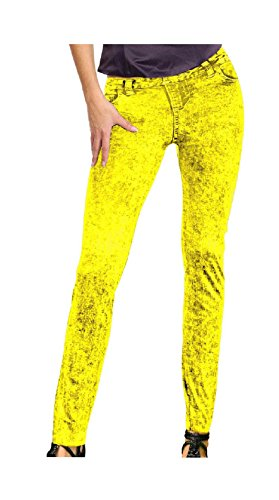 Leggins neon gelb Jeansmuster Neonhose Neon Nights Holi -