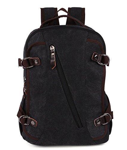 &ZHOU Borsa di tela, Borsa a tracolla uomini e donne capiente borsa zainetto casual classico tela sport borsa del computer , black Black