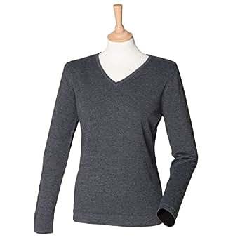 Henbury-Maglione con collo a V, da donna, leggera H721, taglia XL, colore: grigio chiaro