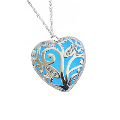 Heart Forest Glowing Necklace Silver Plated Pendant Jewelry 18 Inches, Aquamarine Blue by Glows Me