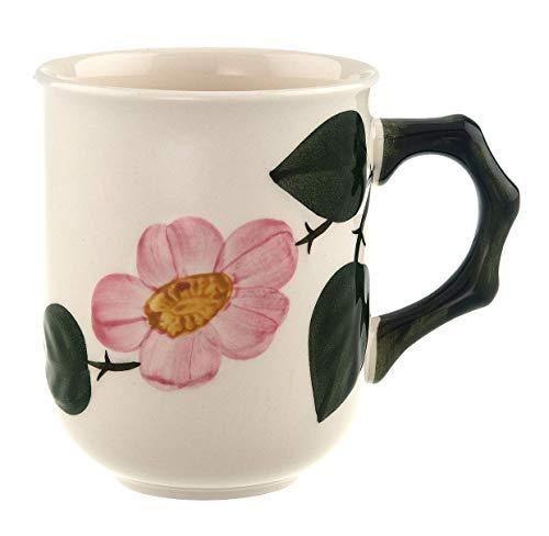 Villeroy & Boch - Wildrose Kaffeebecher mit floralem Muster, Kaffeetasse aus Premium Porzellan mit Wildrose Dekor im Landhausstil, 300 ml
