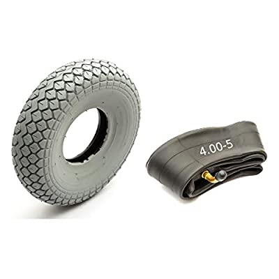 Tyre & Innertube 4.00-5 Grey Diamond Block Tread Fits Mobility Scooter 5 Inch Wheel Rim 4 Ply