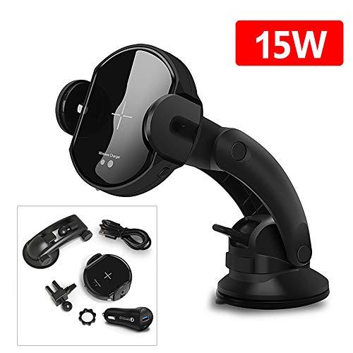 FDGAO Caricatore Wireless Auto e Soporte para Teléfono, 15W Automatico Caricatore Wireless Veloce con Adattatore per Auto QC3.0 per iPhone X/XS/XS Max/8/8 Plus, Samsung S10/S10+/S9/S9+/S8 e Altro