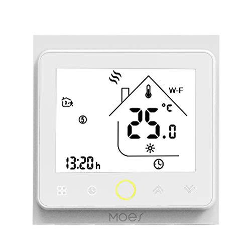 Decdeal Wi-Fi Termostato Intelligente,Termostato Controllo App,Compatibile con Alexa/Google Home Caldaia Acqua/Gas per Casa - 5A
