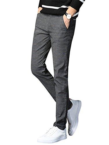 YPtong Pantaloni Elegante da Uomo Chino Slim Fit Ragazzo Pants Business Pantalone Skinny Stretti Casual Grigio