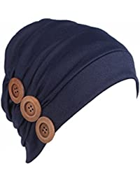 bcd74f56e6f HONENNA Women Chemo Turban headband Scarf Slouchy Beanie Cap Hat for Cancer  Patient (Navy blue