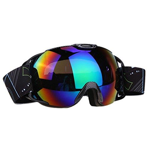 VILISUN Maschera da Sci Snowboard per Donna Uomo, Occhiali da Sci Neve Unisex per Occhiali da Vista, Doppia Lente Tre Strati Anti-nebbia Anti-vento Anti-riflesso con Protezione UV 400(STRISCE SERPENTE)
