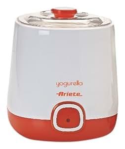 Ariete 621/1 Yogurella Yogurtiera Elettrica con Accessorio per Yogurt Greco, 2 Cestelli (1 L, 1,5 L) Riponibili in Frigo, Doppio Coperchio, Bianco/Arancio