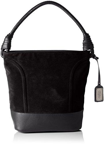 Buffalo Damen BAG W15-089 IMI SUEDE PU Henkeltaschen, Schwarz (BLACK 19), 28x32x17 cm -