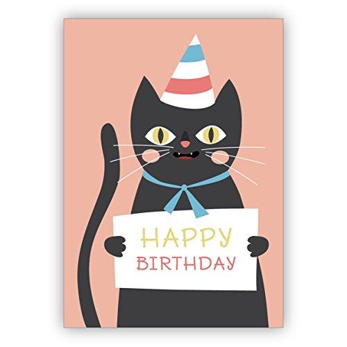 Komische Geburtstagskarte mit frecher schwarzer Katze im Partyhut: Happy Birthday Schwarz Lesbische Filme